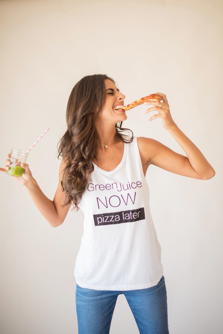'Green Juice Now, Pizza Later' Mikey Muscle Tank