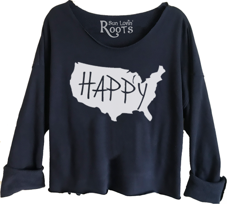 'USA Happy' Raglan Boyfriend Sweatshirt