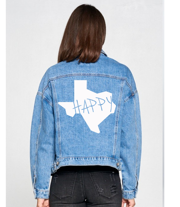 The Roy: Boyfriend Denim Jacket 'State Happy'