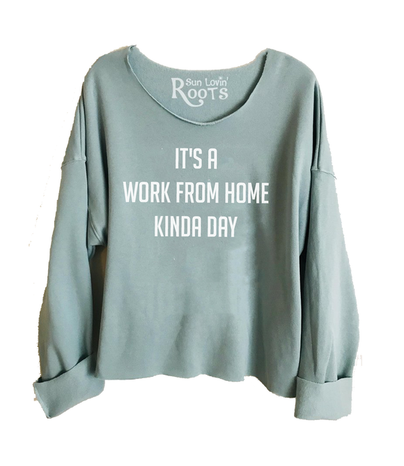 'Work From Home'  Raglan Boyfriend Sweatshirt