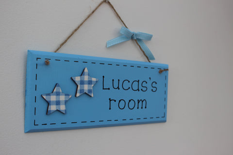 Blue gingham star plaque