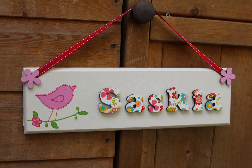 Bird illustrated floral plaque