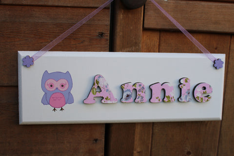 Pink and purple owl illustrated plaque