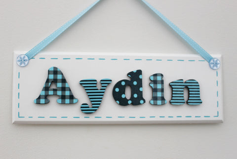 Navy blue and turquoise plaque
