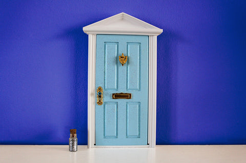 Opening blue elf door