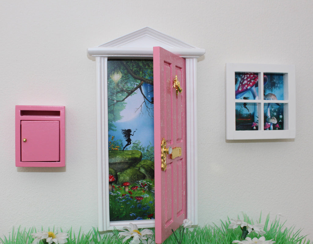 Opening pink fairy door post box and window flitterbee for Pink fairy door