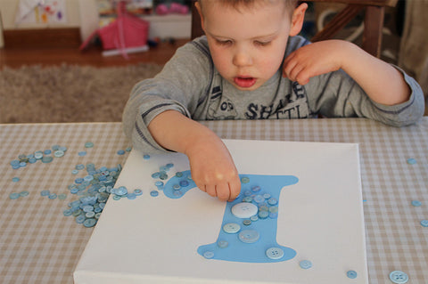 Kids 'make your own' button canvas craft kit - blue