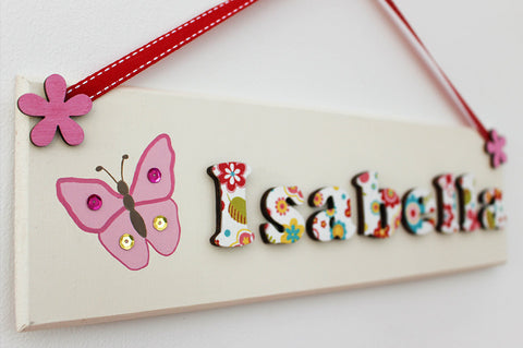 Butterfly illustrated floral plaque