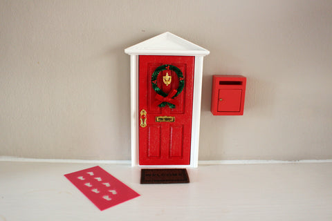 Closed Christmas elf door with miniature post box, welcome mat and footstep stencil- dispatched next day!