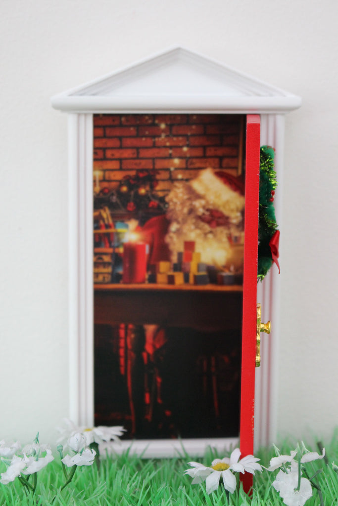 Opening Christmas elf door with santa workshop image- dispatched next day!