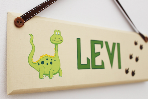 Dinosaur wooden door sign