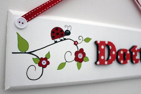 Ladybird wooden bedroom door sign