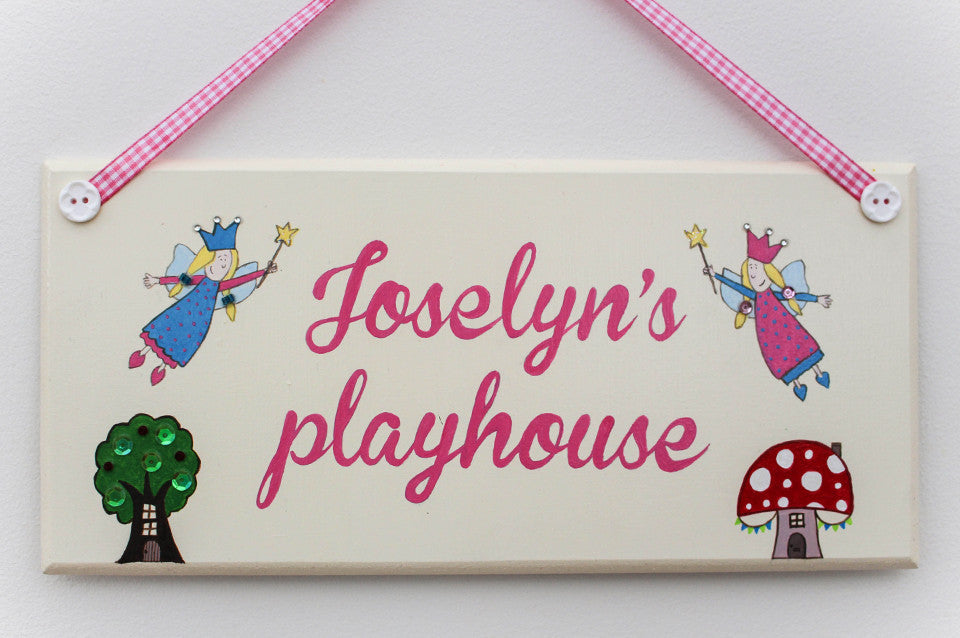 Cream fairyland illustrated plaque