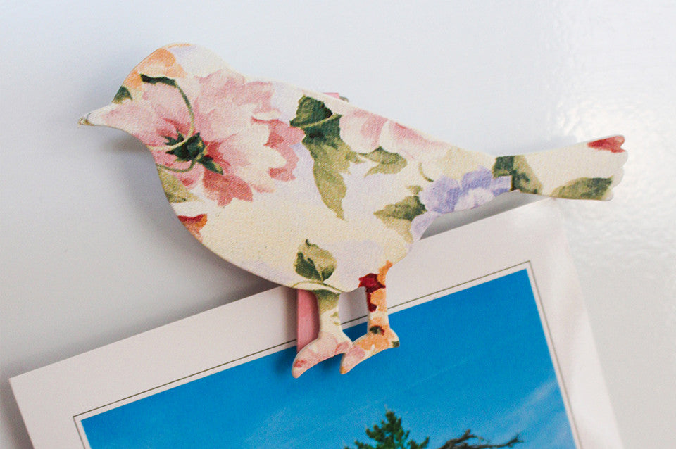 Cream bird fridge peg magnet