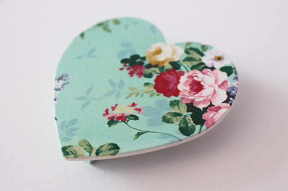 Duck egg blue heart fridge peg magnet