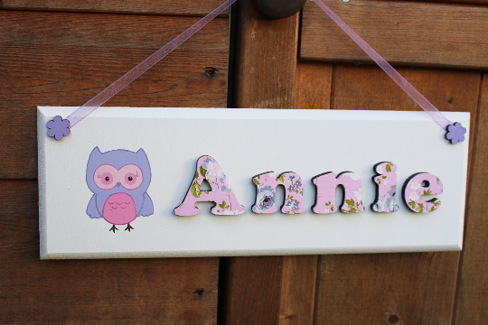 Lilac wooden name plaque with owl illustration