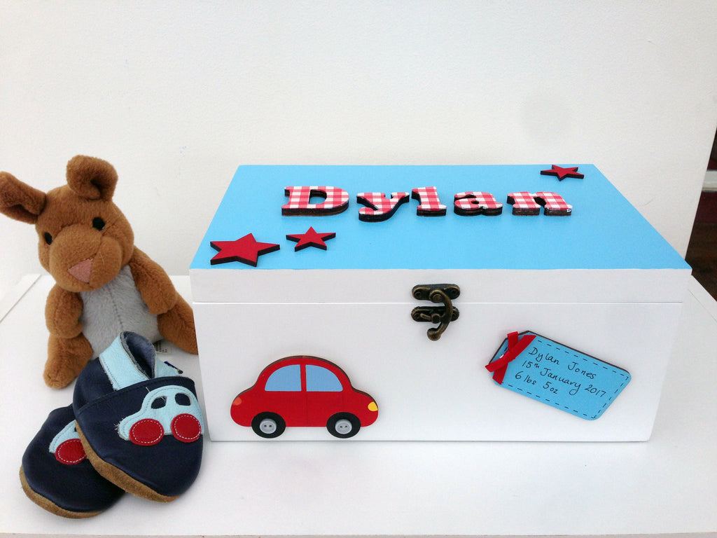Boy's blue and red memory box