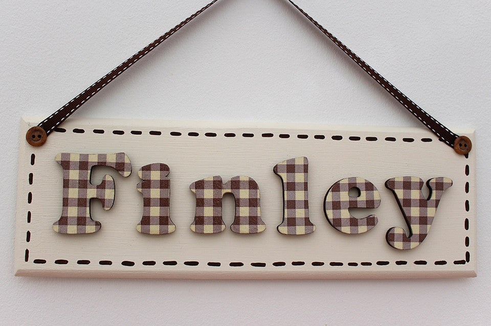 Neutral gingham plaque