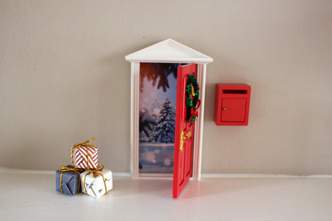 Opening Christmas elf door with northpole image, postbox and presents- dispatched next day!