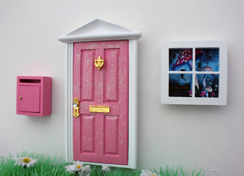 Opening pink fairy door, post box and window