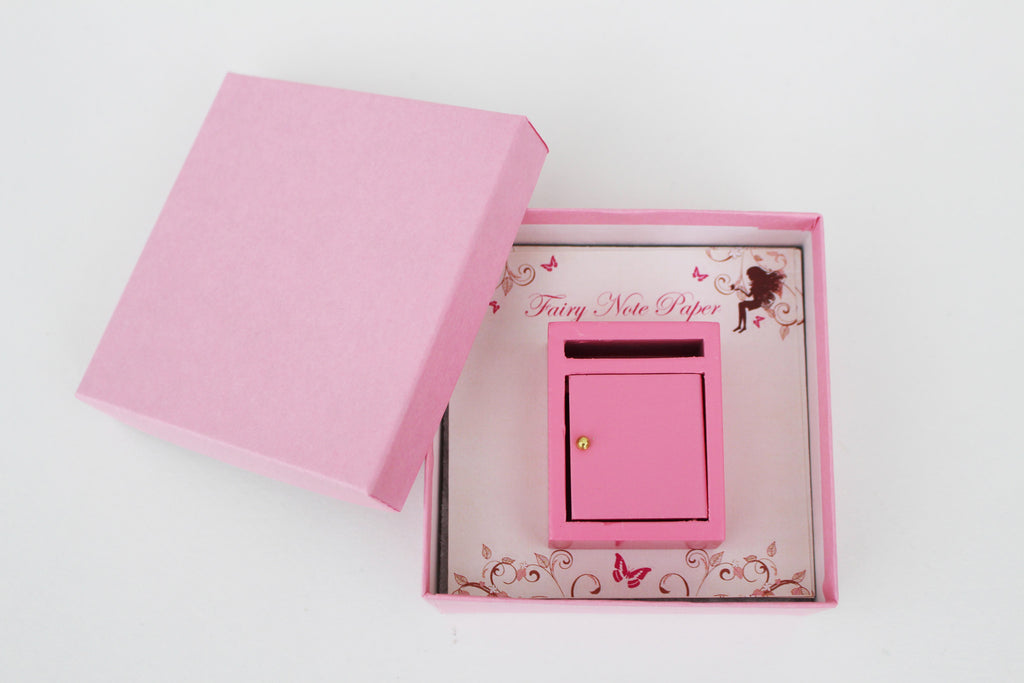 Miniature pink fairy post box