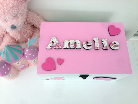 Girl's pink memory / keepsake box