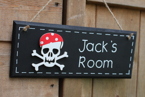 Boy's pirate door sign