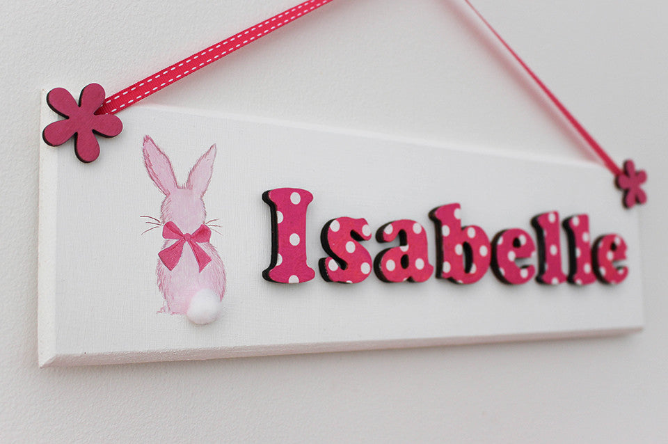 Rabbit illustrated plaque