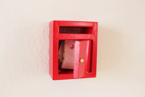 Miniature red fairy / elf post box