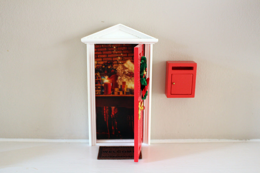 Opening Christmas elf door with santa workshop image, welcome mat and miniature post box- dispatched next day!