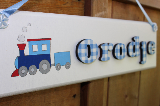 Train wooden door sign with blue gingham lettering