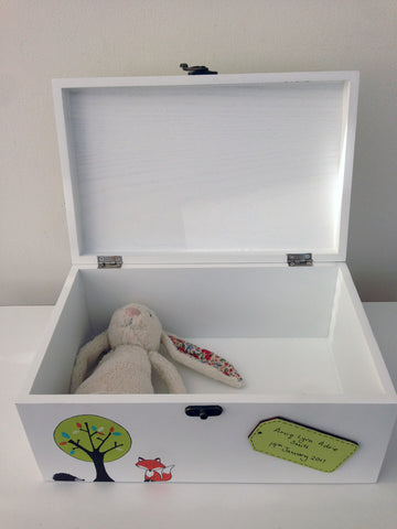 Personalised woodland themed baby memory box