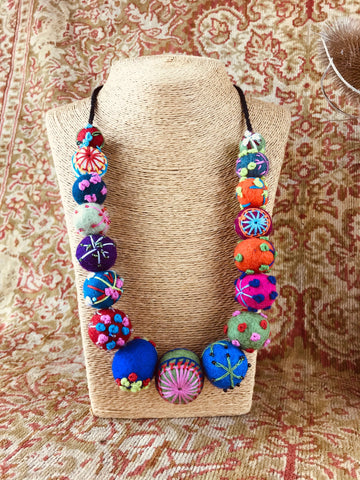 Embroidered Felt Necklace