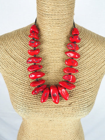 Red Faux Coral necklace