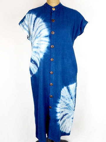 Indigo Chinese Collar Dress