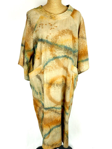 Angel Sleeve Ecoprint Dress
