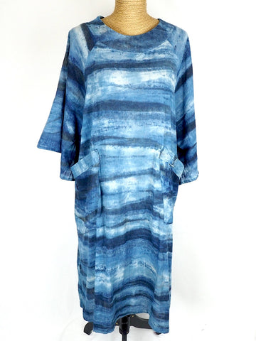 Angel Sleeve Indigo Dress