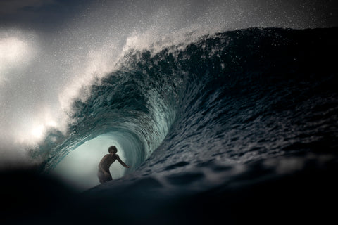 Photographer Alex Voyer shooting with Outex at Teahupoo's famous Surf Break 3
