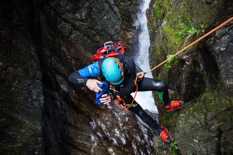 Canyoning photographer Alex Arnold taking pictures with Outex