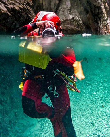 Cannoneer Alex Arnold relies on Outex underwater housing system for his photography work when canyoneering around the world