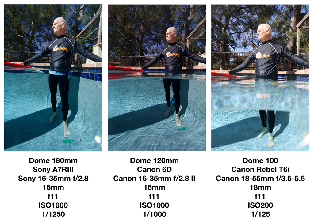 Glass dome comparison illustrates the advantage of domes for underwater photography