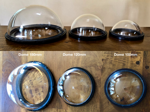 Outex front glass dome ports side by side