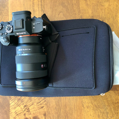 Sony Camera on Top of Protective Bag