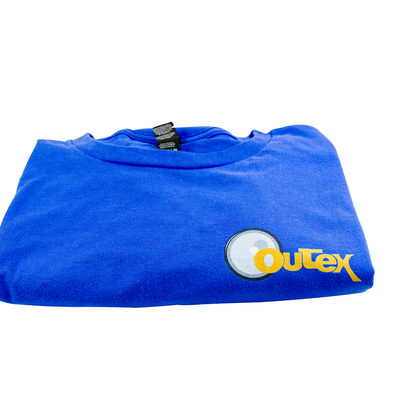 Blue Outex t-shirt on a white background