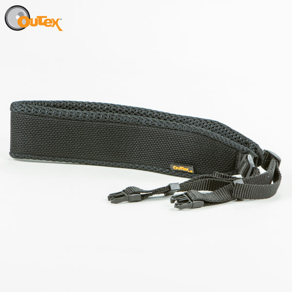 Black neck strap on a white background