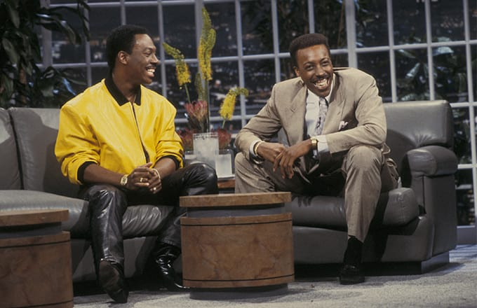 The Late Show with Arsenio Hall July 13, 1987 with guest Eddie Murphy. A DVD of this episode is available from RewatchClassicTV.com.