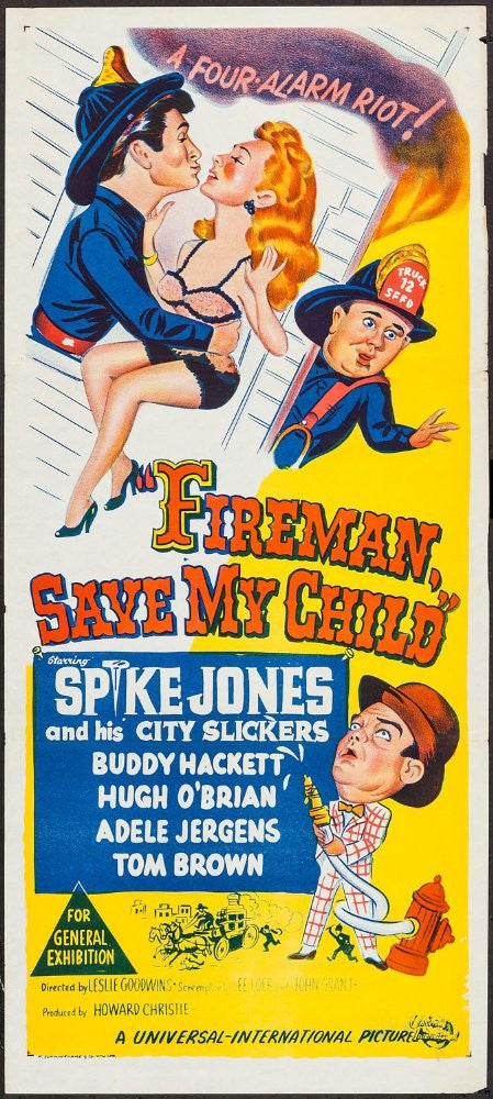 Buddy Hackett, Spike Jones, Harry Cheshire, Hugh O'Brian, and Spike Jones and His City Slickers in Fireman Save My Child (1954). Film available from RewatchClassicTV.com