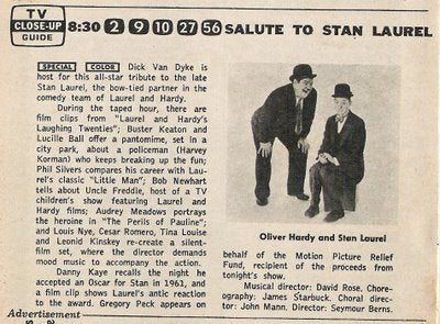 A TRIBUTE TO STAN LAUREL (CBS 11/1965)