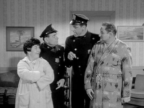 Charlotte Rae, Fred Gwynne, Joe E. Ross and Al Lewis in Car 54, Where Are You? (1961). Visit www.RewatchClassicTV.com to get the Charlotte Rae episode DVD collection set.