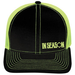 4644a47b09db2 In Season Logo Trucker Hat - Black   Lime Green – In Season Apparel